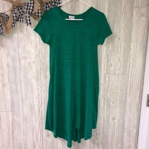 Lularoe heatherd green with black carly dress XXS